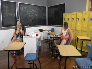 Busty ts teacher barebacked by student while jerking