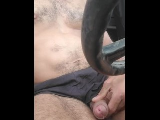 Hairy fit guy plays with big cock in slow 4wding, wipes it on hoody after