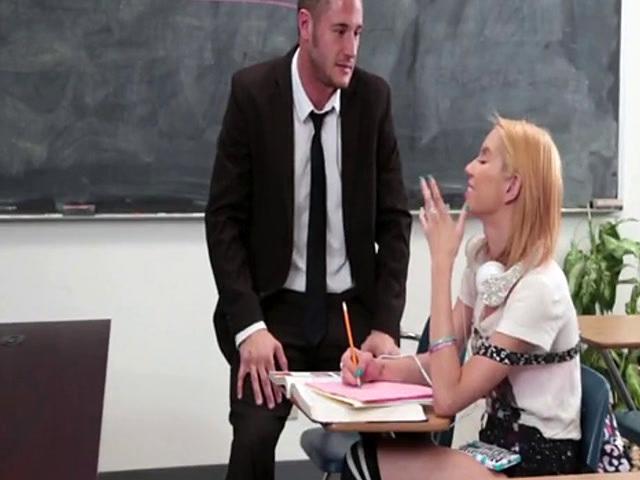 Beautiful blonde schoolgirl gets fucked in the classroom