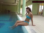 Tattooed teen Mia Ferrari gets naked in the pool