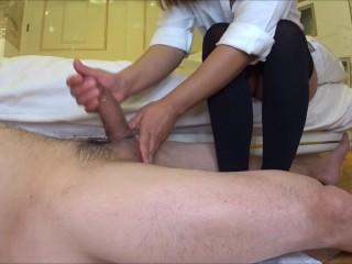 Short Stocking Foot Job Cum with Oil Massage i Feel so Hot(side Cam)♡ 足コキべとべとニーハイぶっかけ(サイドカメラ)